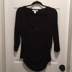 White House/Black Market 3/4 Sleeve Black Top